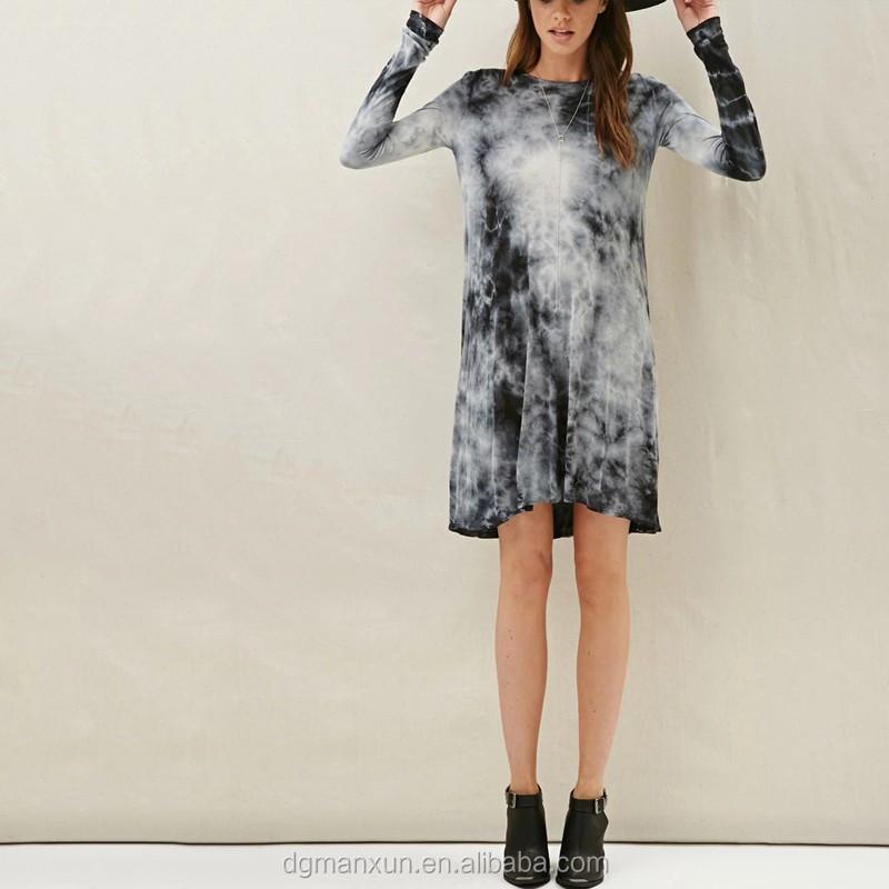 Tie Dye Tunic Dress Long Sleeve Ruffle Tunic Soft Dress With Cutout Detail On Back Backless T-shirt
