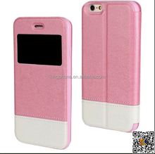for IPHONE 6 alibaba new product ultrathin leather view case, stand flip cover case