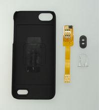 Kiwibiard brand Q-SIM Dual SIM Card Adapter for iPhone 5 with case