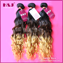 High quality color 1B/6#/27# wholesale cheap remy virgin ombre hair extension