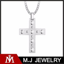 Europe Unisex Cross Stainless Steel Pendants for mens Two Tone Hollow Charm