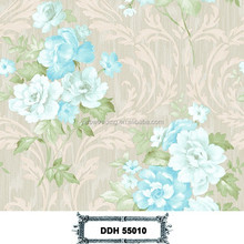 Most popular colorful design deep embossed beautiful PVC flower wallpaper for home
