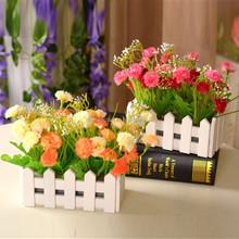Korean Clove With White Wooden Fence Silk Flower Artificial Flower Interior Decoration