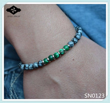 SN0123 Black White Snow Stone Jewelry 6mm malachite Bracelets