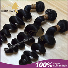 top grade double drawn loose wave natural color virgin brazilian hair weave