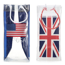 National Flag Design Printed Recyclable Various Color Transparent PVC Plastic Single Wine Beer Bottle Ice cooler Carrying Bag
