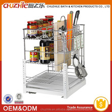 2015 China Best Selling Products Kitchen Cabinet Pull Out Basket / Wire Storage Basket in Chrome Plating with Slide