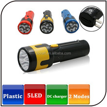 2015 best sale two modes 5led electric rechargeable torch plastic flashlight