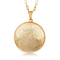 Have spot wholesale unisex 18 k gold plated new fashion jewelry round shape romantic gold color can open pendant locket necklace