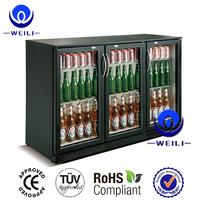 Weili 318L triple glazed tempered doors commercial visi beer back bar refrigerator cooler refrigerator fridge CE/CB/ROHS/MEPS