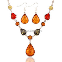 Exaggerated Luxury Colorful Gem Amber Necklace Jewelry Set