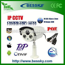 Bessky outdoor Onvif p2p 360 viewerframe mode ip camera With H.264 Vadal-proof Analog CCTV Bullet