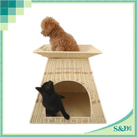 China wholesale luxury plastic hand made rattan pet dog house