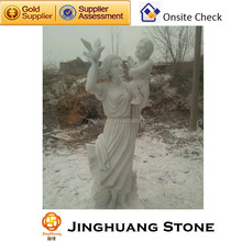White Natural Stone Statue, Marble Statue Carving, Beautiful Stone Lady Statue