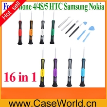 16 in 1 Opening Pry Tools mobile phone Repair Kit Versatile Screwdriver Set for iPhone 4 4S 5 HTC Samsung Nokia smartphone