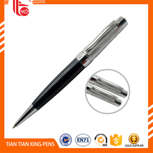 Metallic pens ballpen blue,pushed action ballpoint pen,promotional metal glitter ballpoint pen