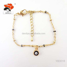 european jewelry lucky gold tone chain turkey round evil eye bracelet