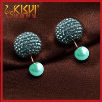 2015 make in China new products fashion natural shell pearl diamond stud earrings