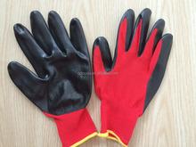 CE approved SRSafety 13 Gauge knitted nylon coated black nitrile gloves/working nitrile glove/safety glove,red gloves,gloves