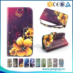 Luxury color printing crystal inlay wallet cover leather flip case for Huawei G650