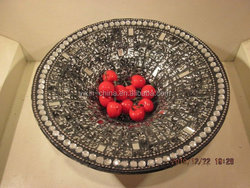 2015 round mosaic crackle glass plate in diam of 25cm