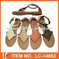 con estilo brillante de color plano sandalias para mujer de oem