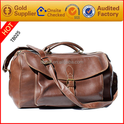 2016 new product design tan leather bag travel men travel bag