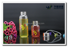 240ml glass water drinking bottle with lid custom silk printing wholesale