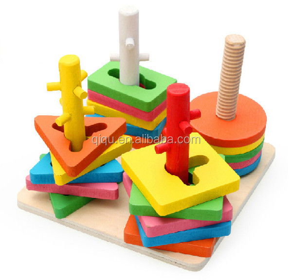 Wholesale Math Shape Geometric Educational Wooden Block ...