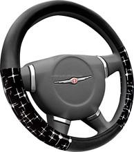 Fabric /pu shining woman / girl soft steering wheel cover