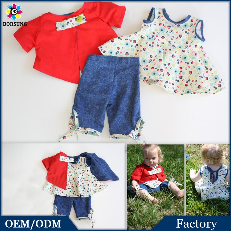 3PCS Baby Girls Cotton Latest Frocks Designs Suits Organic Fancy Print Newbron Baby Clothes