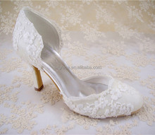 Stunning Floral Lace Bridal Shoes Beaded Round Toe Wedding Shoes 2.5-3.5 inches Heel high/Size 4.5-10