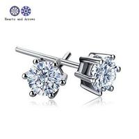 Fashion 925 Silver 6mm diamond stud Earrings, hearts and arrows cut diamond earring for lovely girl