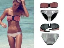 Swimwear Triangl With Mesh Designed Push Up Bikini set Bathsuit Printed Popular Stock Peach Two Pieces Swimwear Triangl