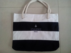 12oz stripe canvas beach tote bag, cotton canvas bag with cord Rope handle style, LOGO embroidery canvas bag