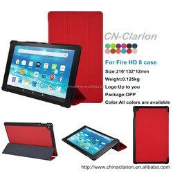 2015 New Arrival 3-Folding Case For Kindle Fire HD 8 case, PU Leather Smart Case For Kindle Fire Case, Red