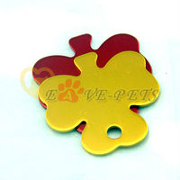 V1085 Fashion Design Aluminum Material Flower Shape 3*5CM Cat Pet Dog Tag Drop Shipping Factory Produce Wholesale Price