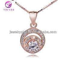 Jewelry wholesale Rose Gold Plated over 925 Sterling silver Round pendant Diamnd Necklace