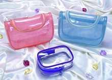 Fashion Zipper Candy Color Clear Cosmetic Pvc Bag for Women Wholesale 2015