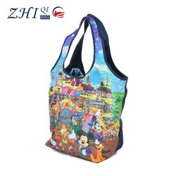 Factory promotional children nylon foldable tote shopping bag with colorful cartoon printing