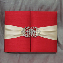 Be novel in design wedding Invitation Boxes with Brooch boxed with ribbon free