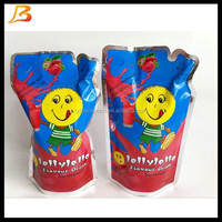 Custom made stand up fruit juice packing bag with inner straw