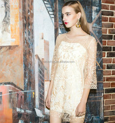 2015 factory wholesale price lace top chiffon evening dress with half sleeves