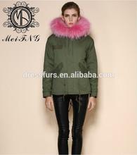 venta invierno traje para la nieve ropa real del mapache cuello algodón ejército shell verde color de piel forro de ropa