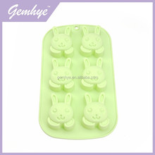 6 Cute Rabbits Pattern Chiffon Baby Silicone Cake Mold For Kids