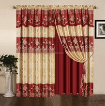 polyesterY/D jacqurd elegant double layer window curtain with simple valance,lining,tassels