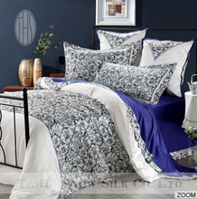 blue and white porcelain printed chinoiserie silk bedding set 6 pcs