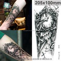 QC604/Body Temporary Tattoos Machine Shoulder Clock Tattoo From Rocooart