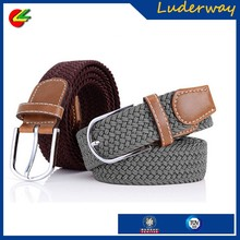 Muti color men's casual braided knitted elastic stretch belt with alloy pin buckle