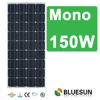 Bluesun good perfomance mono 150w 160w solar panels for home use and inverter